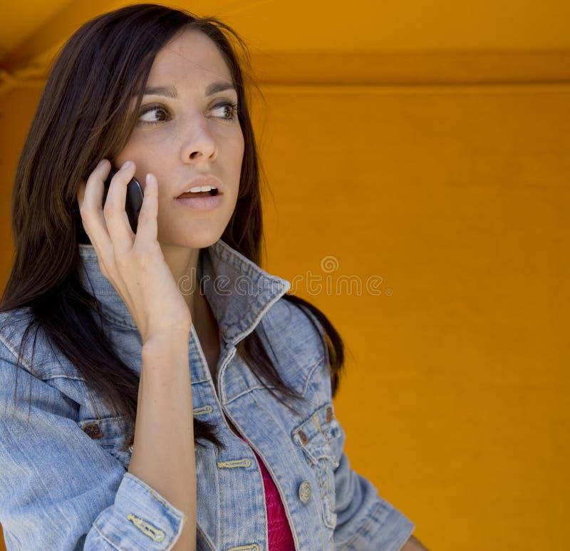 Frau, die auf Handy spricht stockfotos