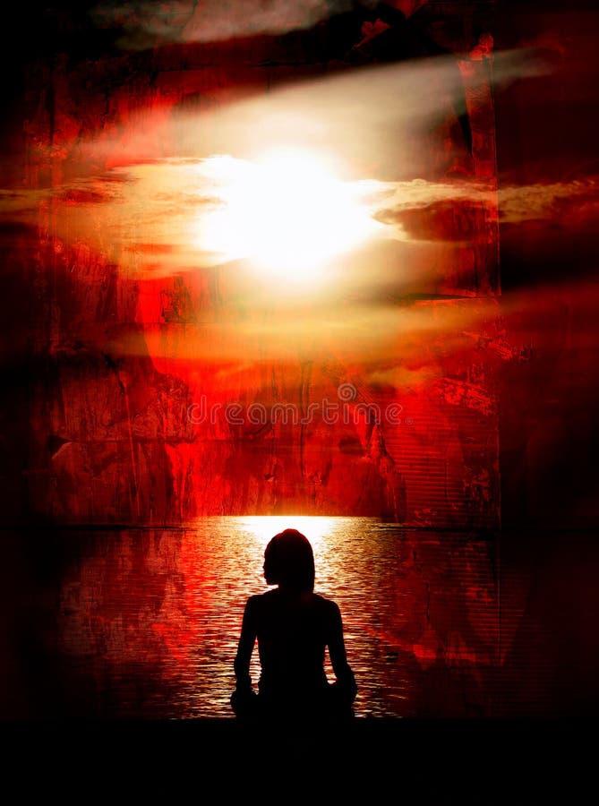 Frau, die auf rotem Grunge meditiert lizenzfreies stockbild