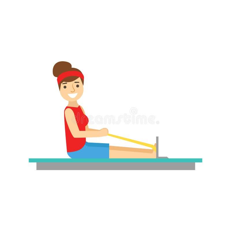 Frau, die auf Rudersport-Simulator, Mitglied des Fitness-Clubs ausarbeitet und trainiert in der modischen Sportkleidung trainiert vektor abbildung