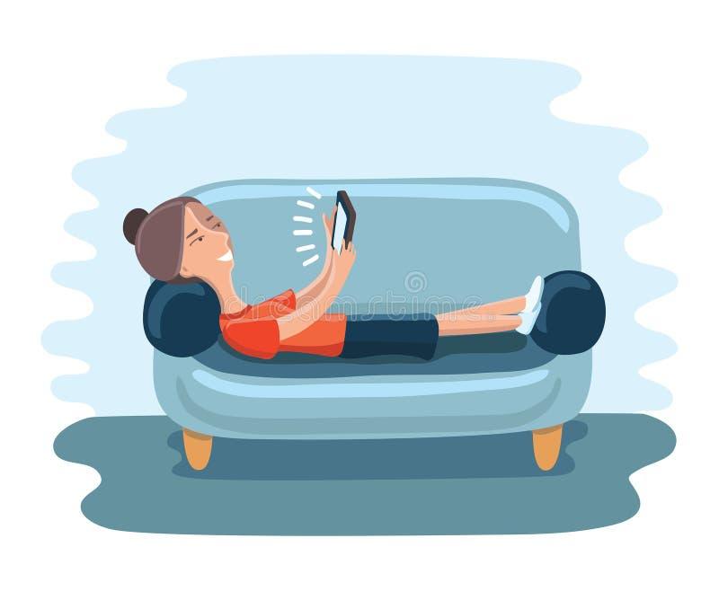 Frau, die auf Sofa mit vielen Geräten liegt lizenzfreie abbildung