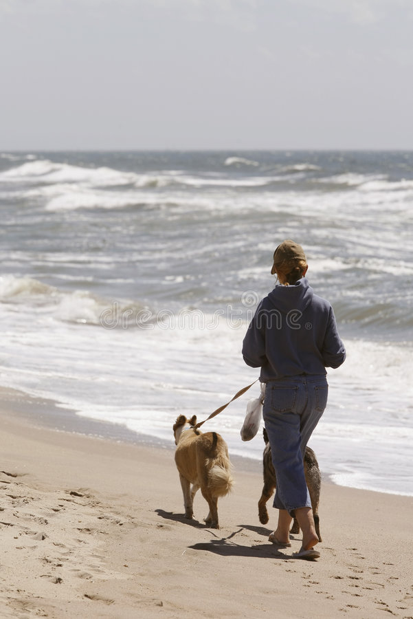 Frau, die auf Strand mit Hunden läuft stockfoto