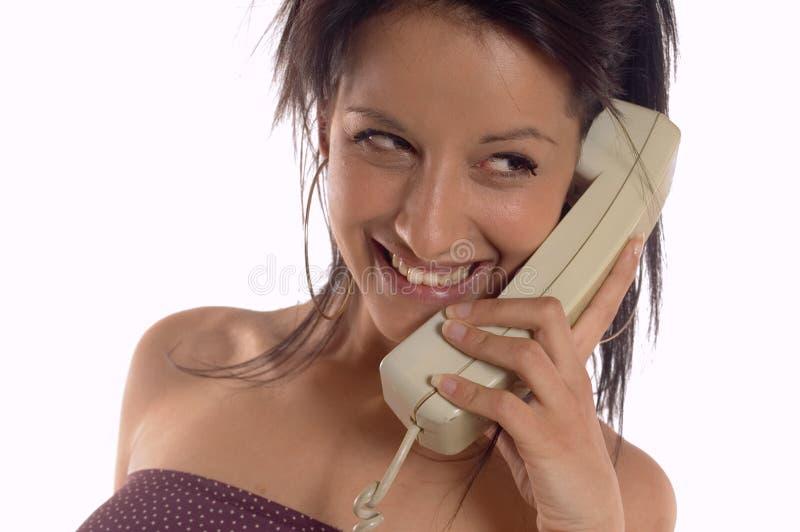 Frau, die Aufruf bildet lizenzfreie stockbilder