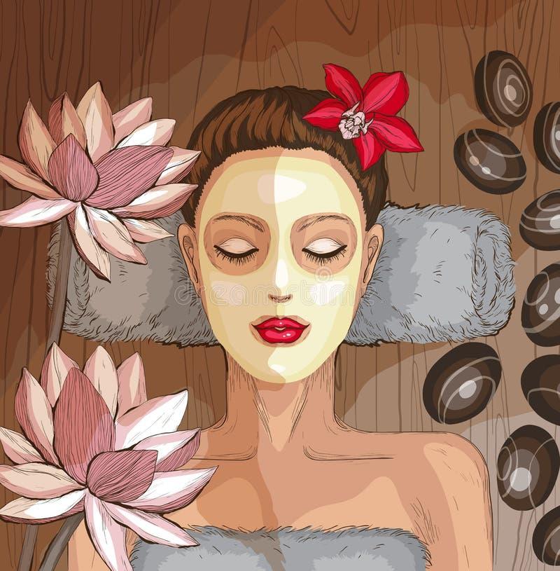 Frau, die Badekurortbehandlung erhält Befeuchtende Schablone stock abbildung