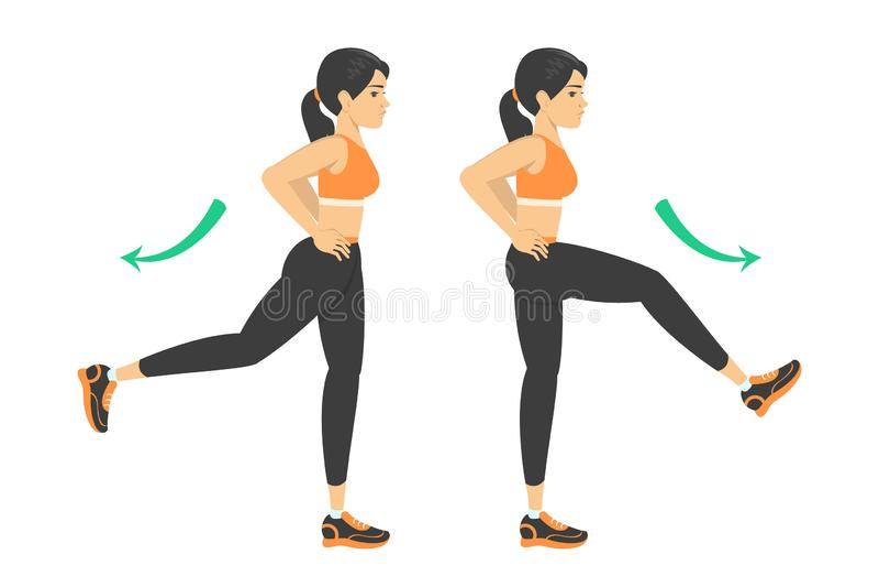 Frau, die Beinschwingenübung tut Aufw?rmen vor Training vektor abbildung