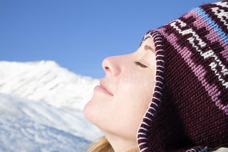 Frau, die Berg genießt stockbild