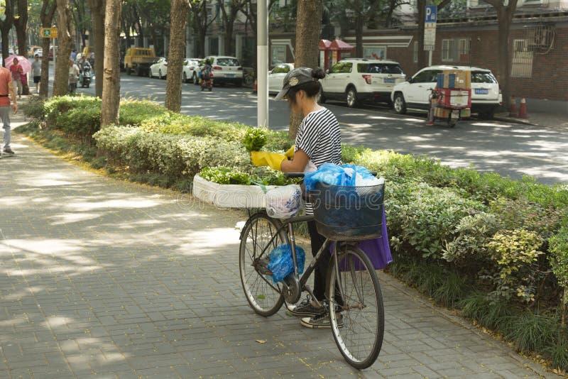 Frau, die Blumen an der Straße in Shanghai, China verkauft stockbild