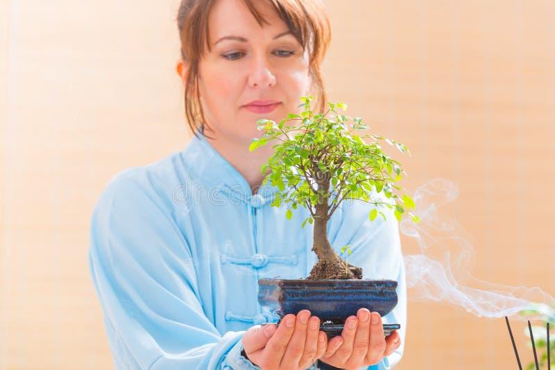 Frau, die Bonsaibaum hält stockfoto