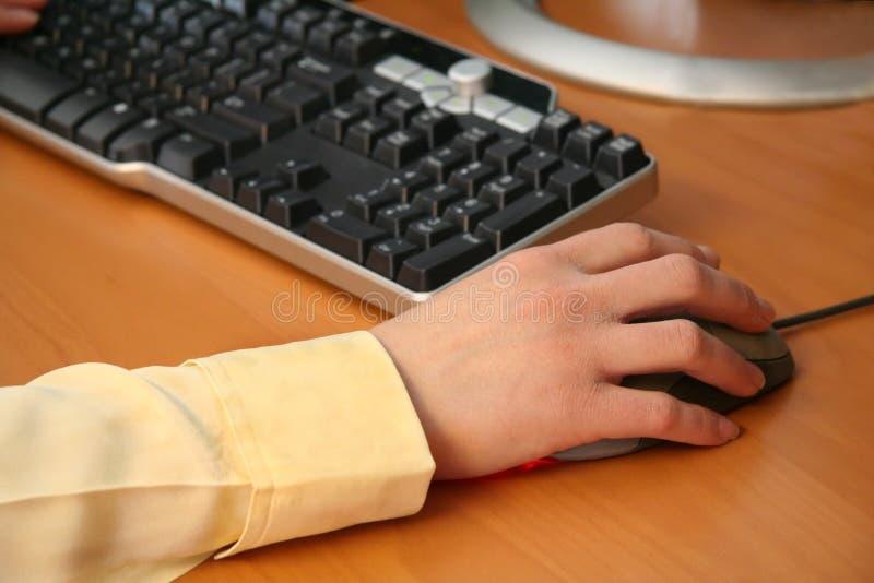 Frau, die an Computer arbeitet lizenzfreie stockbilder