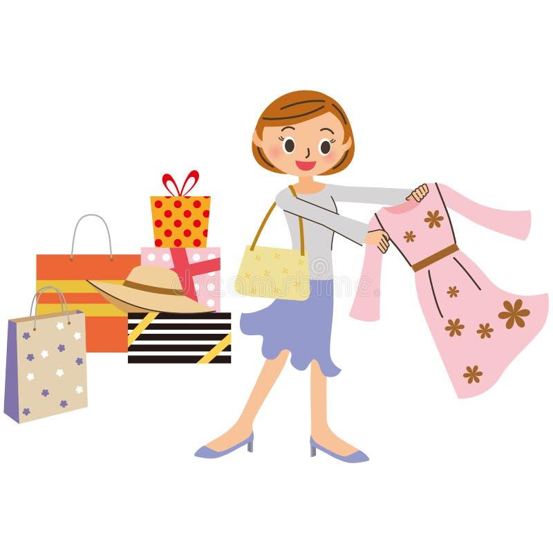 Frau, die das Einkaufen tut stock abbildung