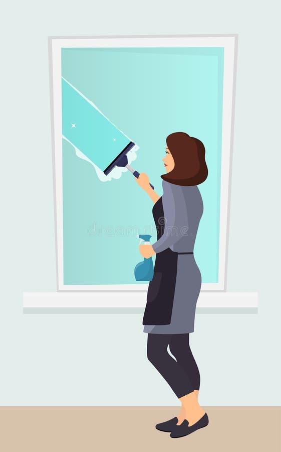 Frau, die das Fenster mit einem Schaber wäscht Fokus auf Glasoberfläche Schaber gleitet über dem Glas und macht es sauber Spraygl lizenzfreie abbildung