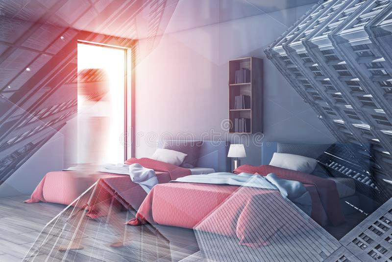Frau, die in das graue Schlafzimmer mit zwei Betten geht stockbilder