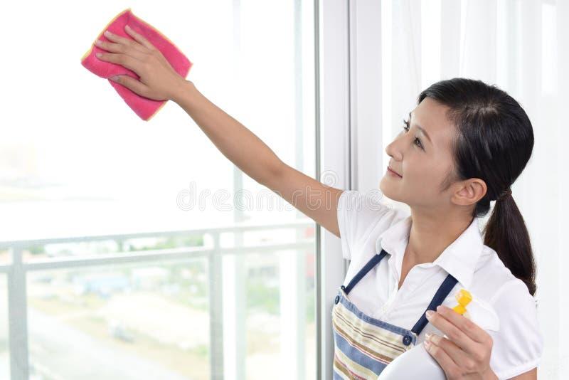 Frau, die das Haus säubert lizenzfreie stockbilder