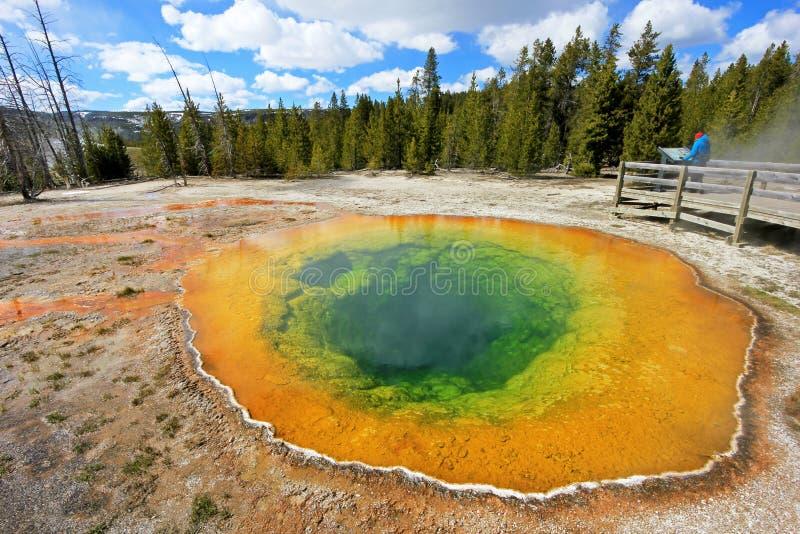 Frau, die den berühmten Morgen Glory Pool in Yellowstone Nationalpark, USA betrachtet stockbild
