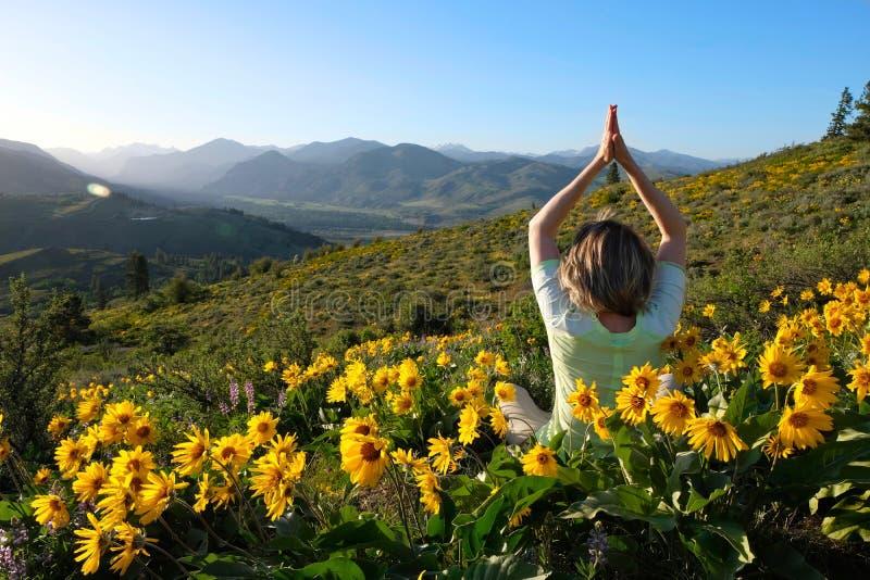 Frau, die in den Wiesen mit Sonnenblumen meditiert lizenzfreie stockfotografie