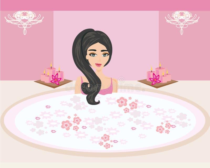 Frau, die in der Badewanne im schönen Badezimmer badet vektor abbildung