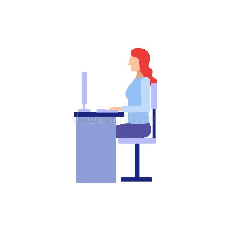 Frau, die in der flachen Art der Bürovektor-Illustration arbeitet vektor abbildung