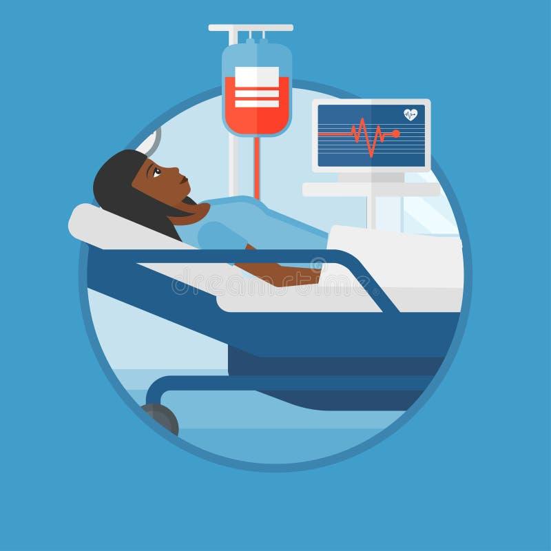 Frau, die in der Krankenhausbett-Vektorillustration liegt stock abbildung