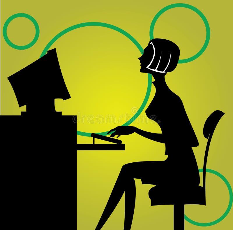 Frau, die durch den Computer sitzt vektor abbildung