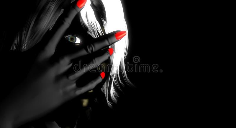 Frau, die durch Finger späht stock abbildung