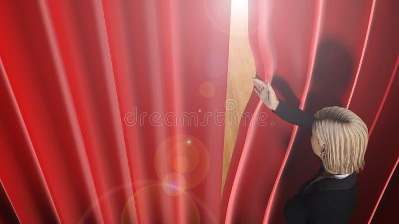 Frau, die durch Theatervorhänge auf Stadium schaut vektor abbildung