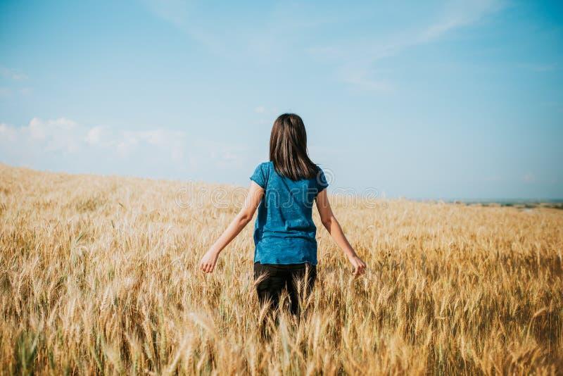 Frau, die durch Weizenfeld, Transportwagenschuß geht Mädchen ` s Handrührende Weizenähren lizenzfreies stockbild