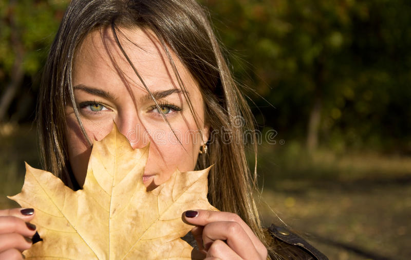 Frau, die ein Ahornblatt anhält stockfotografie