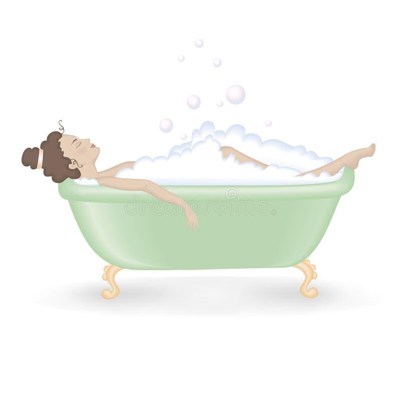 Frau, die ein Bad mit Schaumgummi nimmt stock abbildung