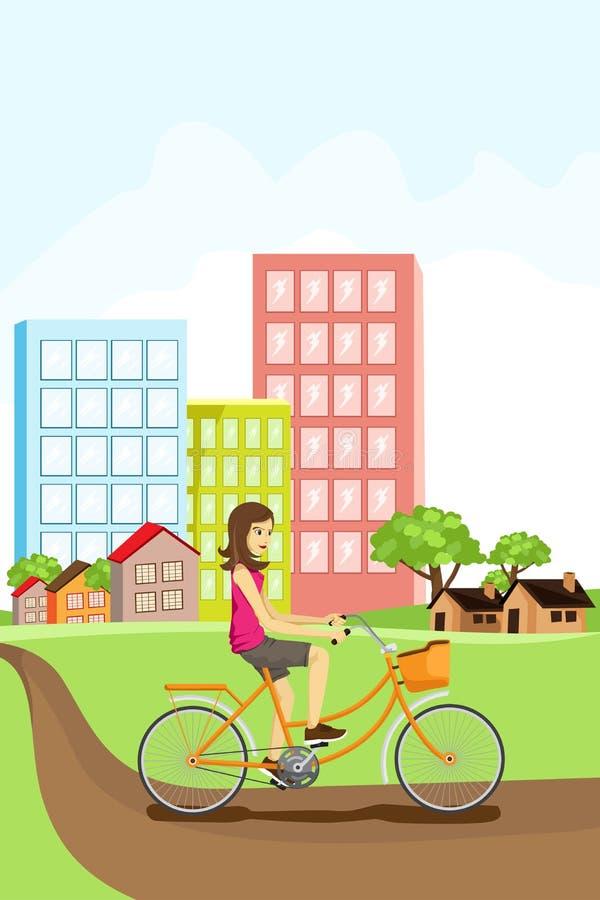 Frau, die ein Fahrrad reitet stock abbildung