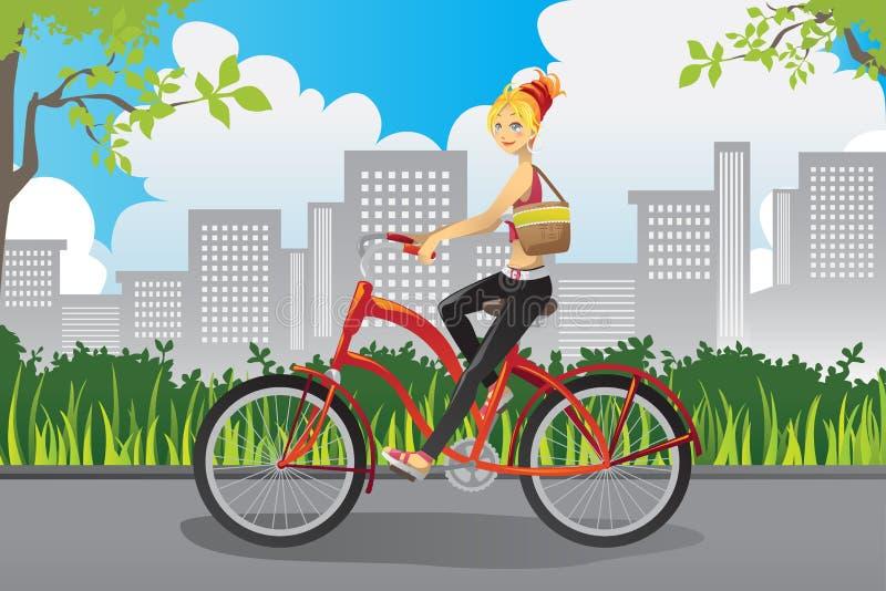 Frau, die ein Fahrrad reitet vektor abbildung