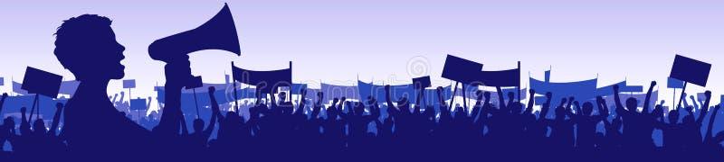 Frau, die eine Demonstration führt lizenzfreie abbildung