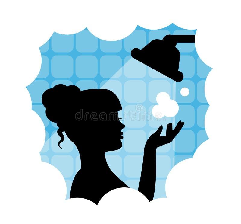 Frau, die eine Dusche nimmt lizenzfreie abbildung