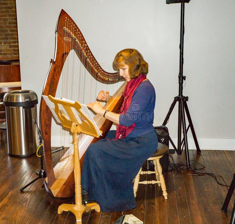 Frau, die eine Harfe spielt lizenzfreie stockfotografie