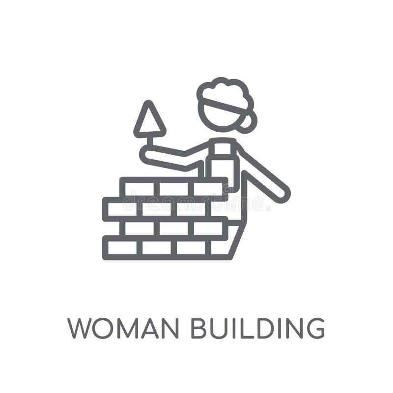 Frau, die eine lineare Ikone der Wand errichtet Modernes Entwurf Frauen-Gebäude stock abbildung