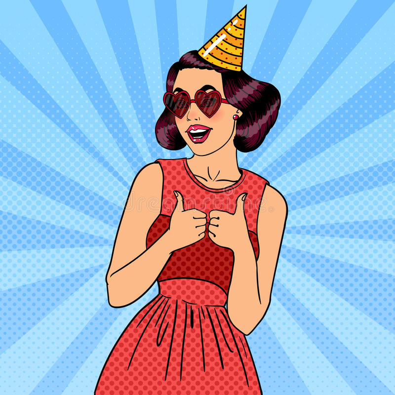 Frau, die eine Partei im Feier-Hut hat Pop-Art stock abbildung