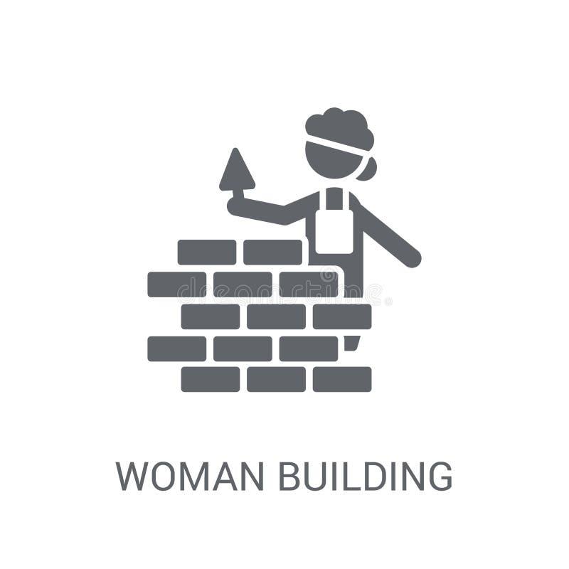 Frau, die eine Wandikone errichtet Modische Frau, die ein Wandlogo Co aufbaut stock abbildung
