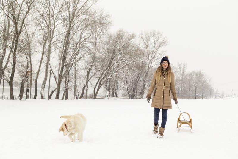 Frau, die einen Hund für einen Weg im Schnee nimmt stockbild