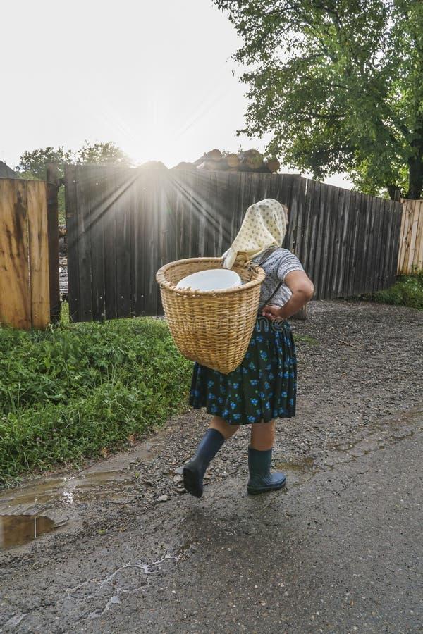 Frau, die einen Korb auf ihr in einem Dorf zurückbringt lizenzfreie stockfotografie
