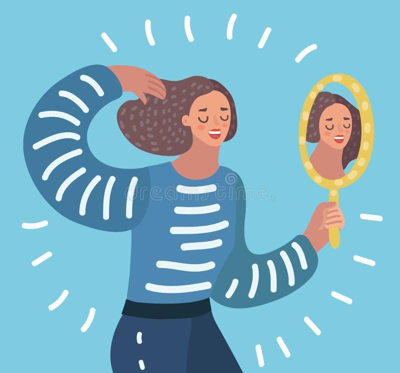 Frau, die einen Spiegel aufpasst vektor abbildung