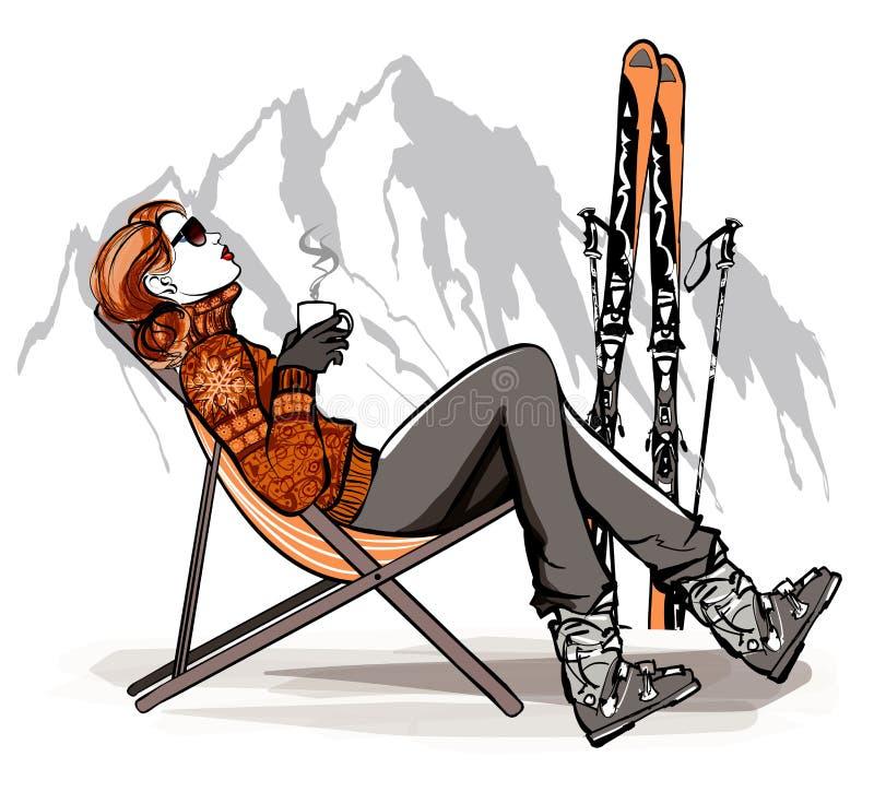 Frau, die einen trinkenden Kaffee des Bruches nachdem dem Ski fahren trinkt vektor abbildung