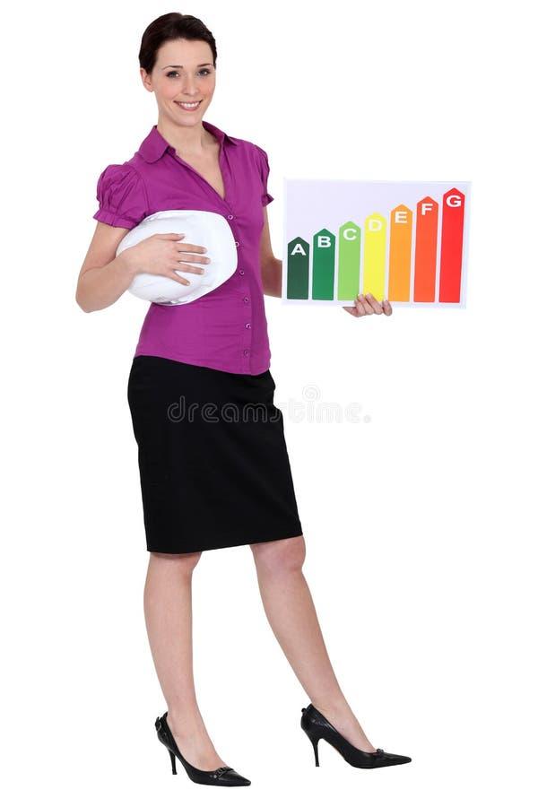 Frau, die Energieinformationen verwahrt lizenzfreie stockfotografie