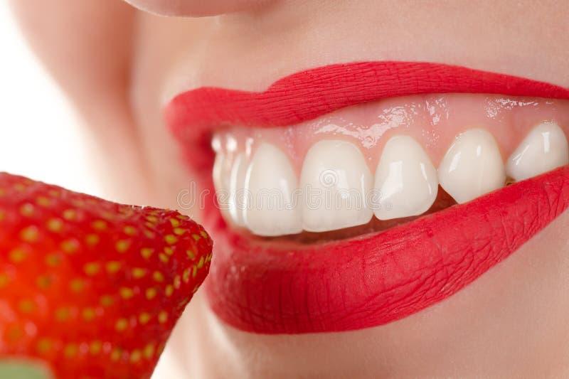Frau, die Erdbeere, gesunde Zähne des Konzeptes isst stockbild