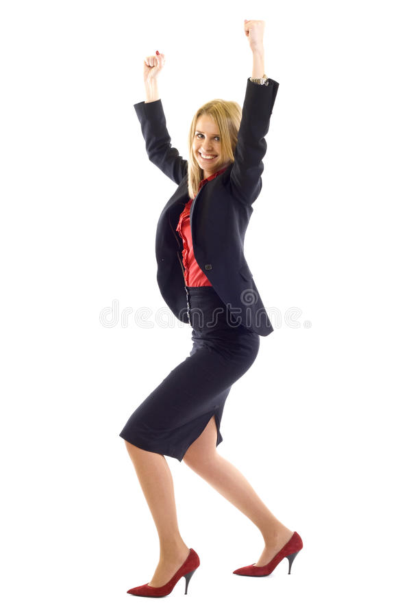 Frau, die Erfolg mit Gefühl feiert lizenzfreies stockbild