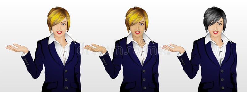 Frau, die etwas/Willkommensgeste in 3 Haut-/Haarfarbe zeigt lizenzfreie abbildung