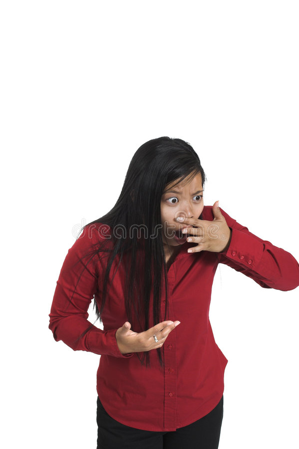 Frau, die falschen Geruch erfasst lizenzfreie stockbilder