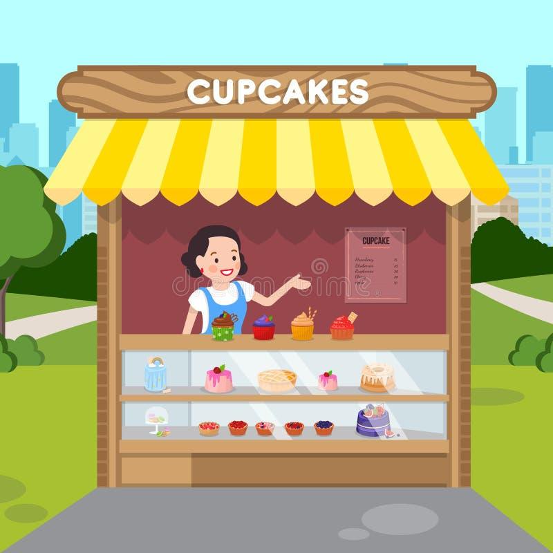 Frau, die flache Vektor-Illustration der kleinen Kuchen verkauft stock abbildung