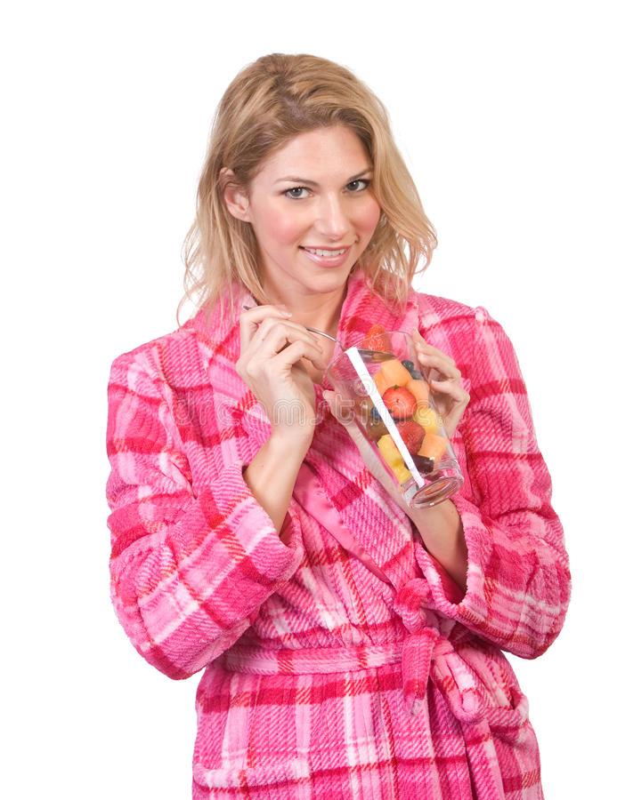 Frau, die Frühstück isst lizenzfreies stockbild
