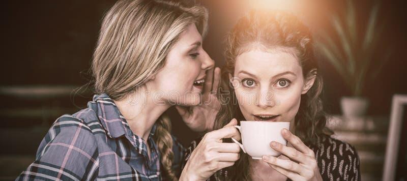 Frau, die Geheimnis in Freundinohr am Café flüstert stock abbildung