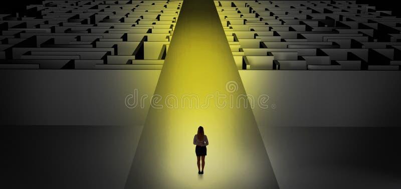 Frau, die geradeaus zwei dunkle Labyrinthe geht stock abbildung