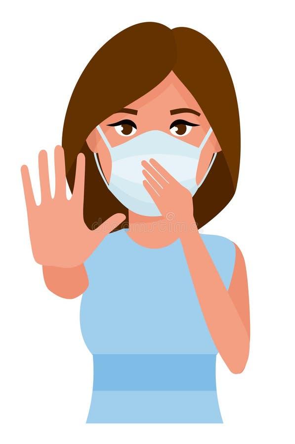 Frau, die Gestenhalt zeigt Junge Frau mit Medizingesundheitswesenmaske gegen Reinraumhintergrund Karikatur flach stock abbildung