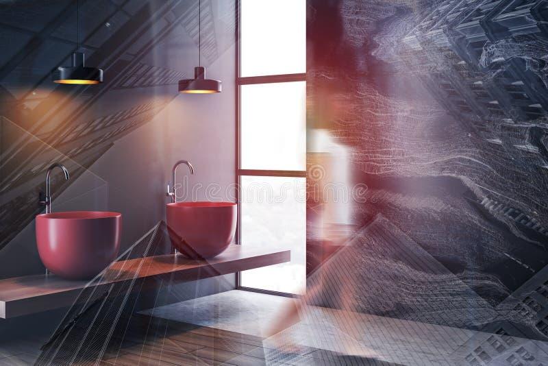 Frau, die in graue Badezimmerecke geht stockbilder